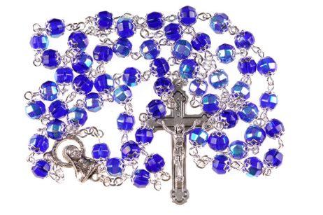 Rosario in vetro blu imitazione cristallo, grani 7mm coppigliati